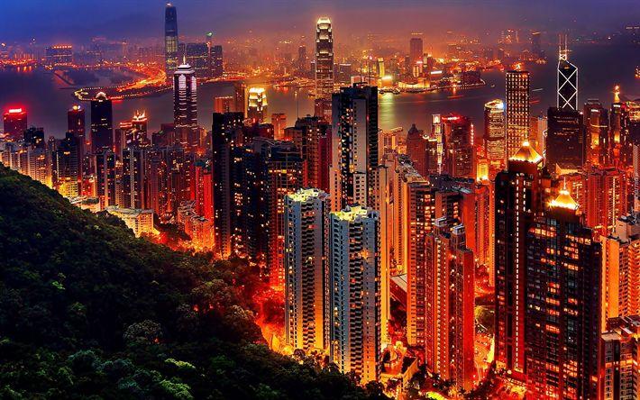 Lataa kuva Hong Kong, yö, pilvenpiirtäjiä, metropoli, kaupungin valot, Kiina