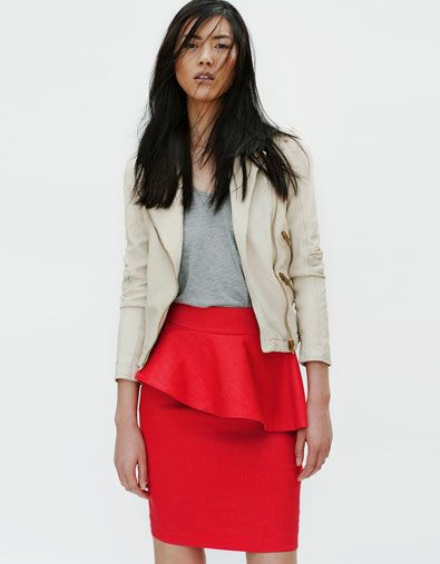 Zara pencil skirt - look cute with black top (fitted) and the optional blazer.