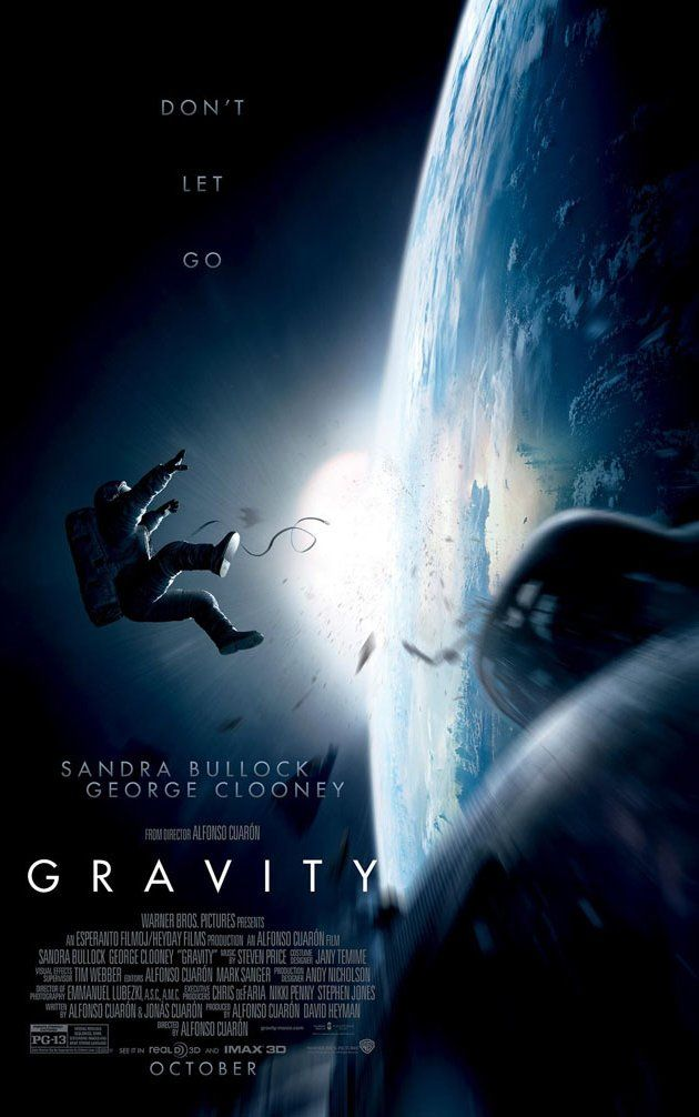 Gravity (2013) -- A medical engineer and an astronaut work together to survive after an accident leaves them adrift in space.  Starring Sandra Bullock, George Clooney, and Ed Harris. Directed by Alfonso Cuarón.