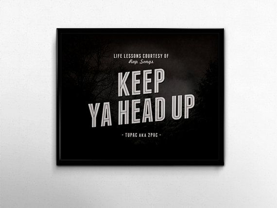 Tupac Poster Keep Ya Head Up Print 2pac Rap Quotes Black White