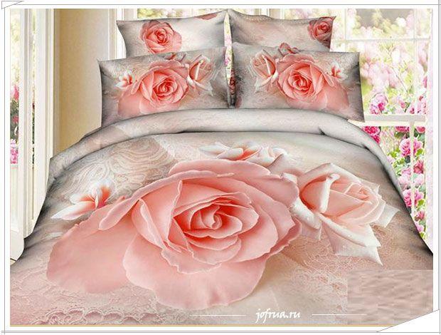 Свадебное постельное белье Karven с нежно розовой розой