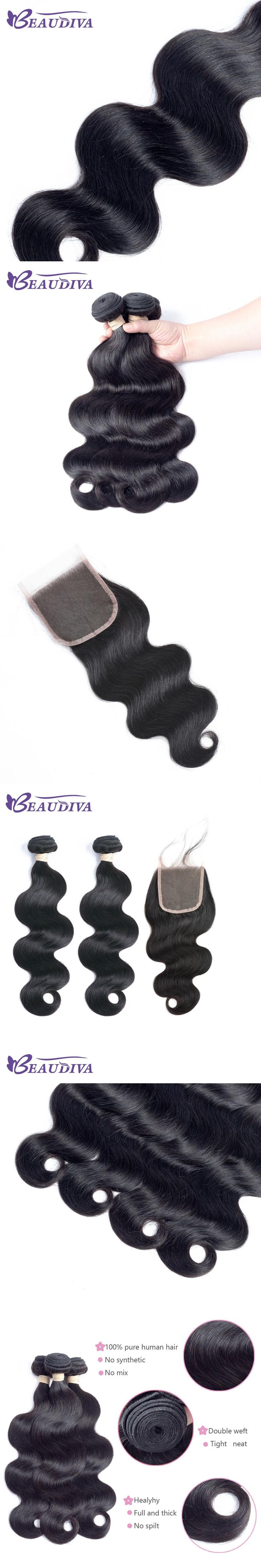 BEAUDIVA Pre-Colored Body Wave 1# Jet Black Color Human Hair Two Bundles With One 4*4 Closure Remy 100% Human Hair Weave