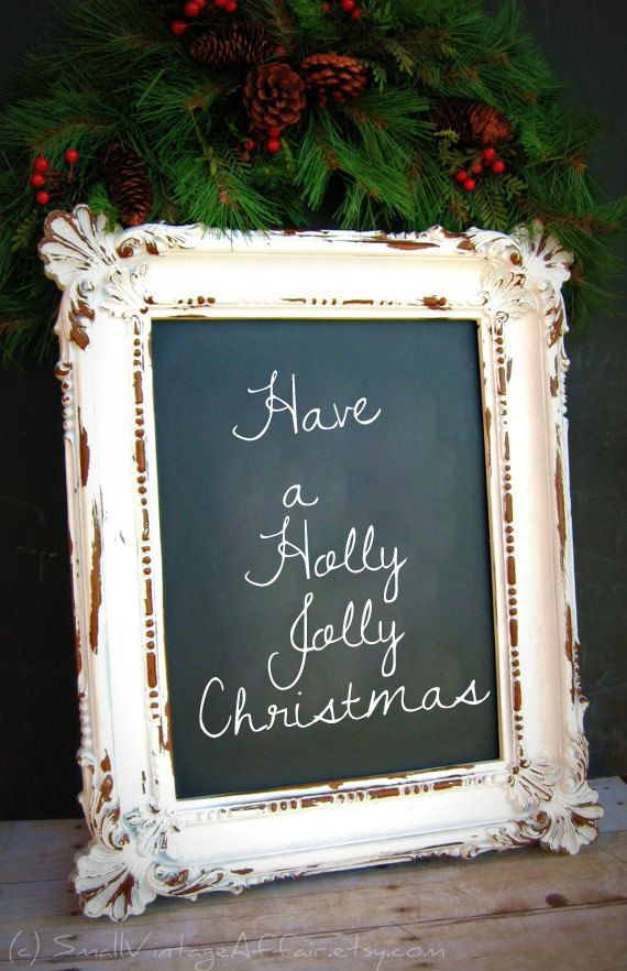 An old frame, some chalkboard paint over glass, and you have a great Christmas message board. I l♥ve l♥ve this idea. Find your favorite Christmas clip and transform a part of history into your present!