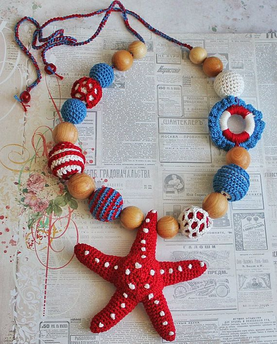 See Teething necklace with starfish and lifebuoy Crochet