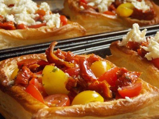 Easy Tomato, Pesto and Mozzarella Tarts