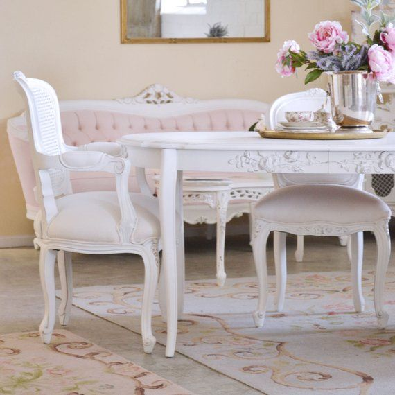 Shabby Cottage Chic Oval Dining Table With Roses French Etsy