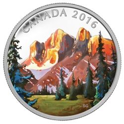 2016 $20 The Rockies: Canadian landscape series - pure silver coin.