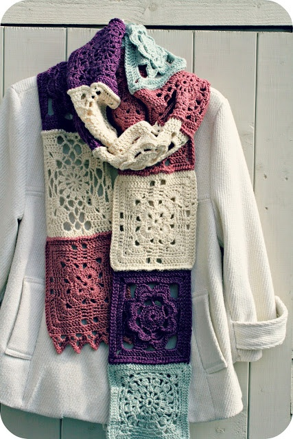 Coco Rose Diaries: Granny motif crochet scarf - love this idea, make different crochet motifs and join together for a scarf
