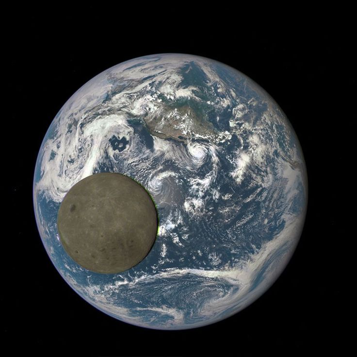 NASA captures the Moon crossing the face of the Earth, for the second time (taken by the DSCOVR satellite's EPIC camera system from LaGrange point 1).
