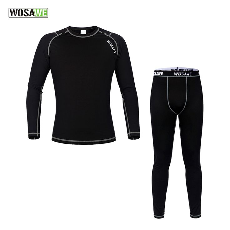 WOSAWE Men Winter Outdoors Sports Cycling Base Layer Sets Thermal Underwear Surface Elastic Long Johns Bicycle Clothing