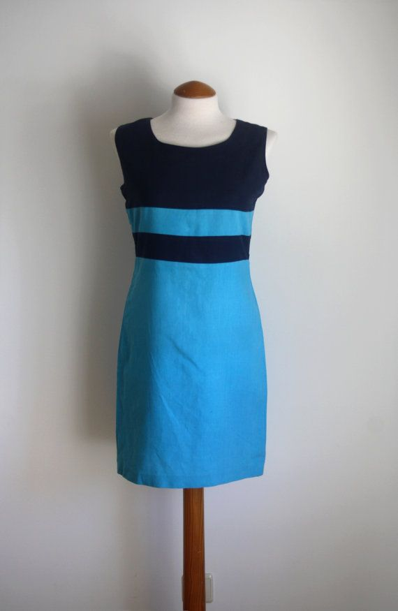 90s Nautical Dress / Blue Dress / 1990s by TicketToRideVintage
