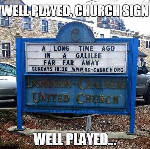 Church sign playing it well. -- SDA, Seventh Day Adventist, funny meme, Christian humor