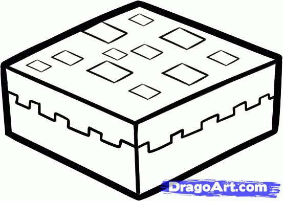 Minecraft Cake Colouring Pages