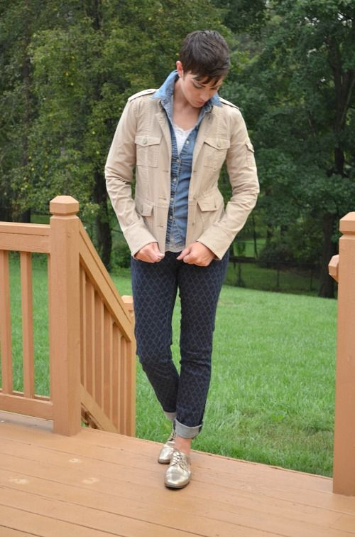 New Women's Denim from Land's End medallion slim fit jeans, Tory Burch cargo jacket, chambray shirt and metallic oxford shoes