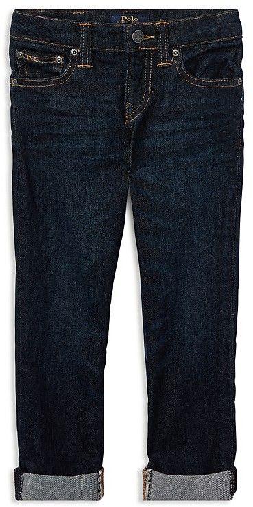 Ralph Lauren Boys' Dark-Wash Cuffed Skinny Jeans - Little Kid