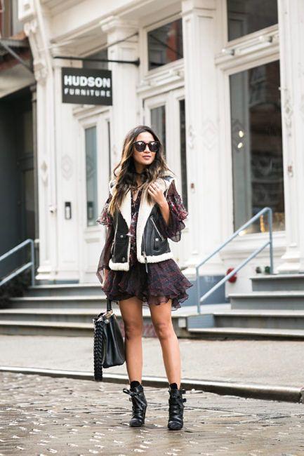 Summer Again :: Lace up dress & Moto vest :: Outfit ::  Vest :: Coach Dress :: Iro Bag :: Fendi Shoes :: Isabel Marant  Accessories :: Karen Walker sunglasses, Wendy's Lookbook x Mejuri necklace Published: January 13, 2017