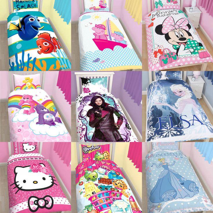 New Girls Single Duvet Quilt Cover & Pillowcase Bedding Sets Childrens Bedroom