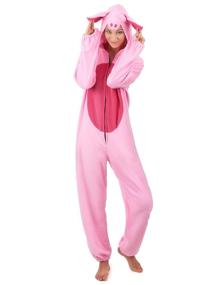 Disfraz cerdo mujer: Este disfraz de cerdo para mujer es un traje. El traje tiene efecto polar y es de color rosa claro con la barriga rosa oscuro.Se cierra con cremallera en la parte delantera y tiene una capucha...