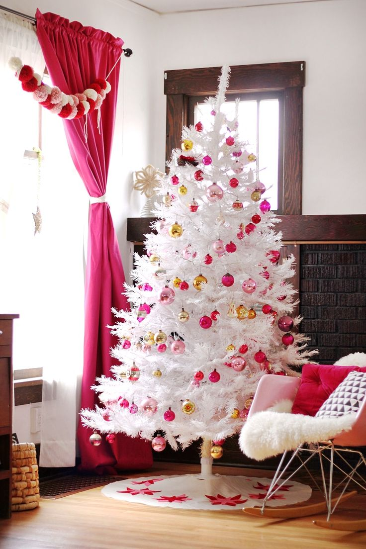 White Tree, Pink Christmas Decorations And Ornaments.maybe Next Year