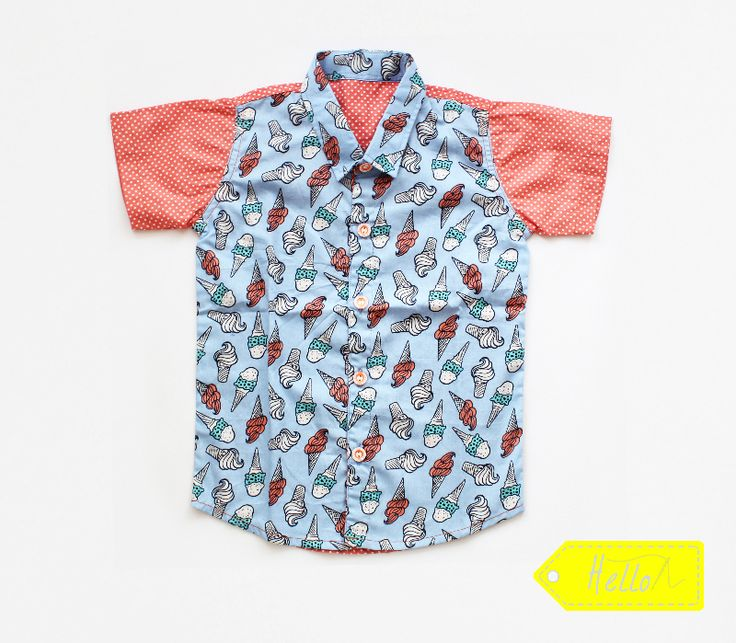 Jual Kemeja Anak. Ice Cream Shirt for Kids. Japan Cotton Fabric. IDR 155K  Available in size S-XL (1-5yo) Place order & inquire: WA: +62-857-7533-7658  https://www.facebook.com/Hello-Kidsapparel-1704622976424059/