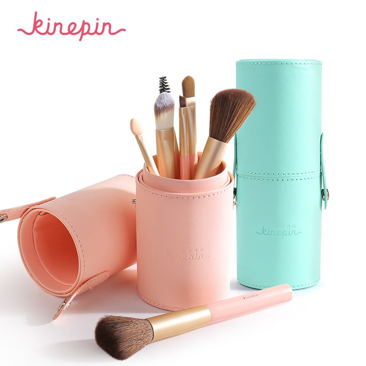 nails KINEPIN Brand Compact 7pcs Makeup Brushes Set Kit Travel Essential Portable PU Studio Brush Holder Tube Leather Cup Container -- Details on product can be viewed on AliExpress website by clicking the image