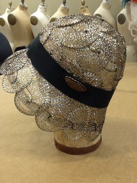 First-year grad Colleen Dobson created this cloche from metallic horsehair braid, looped and spiraled on a block. #millinery #judithm #hats: