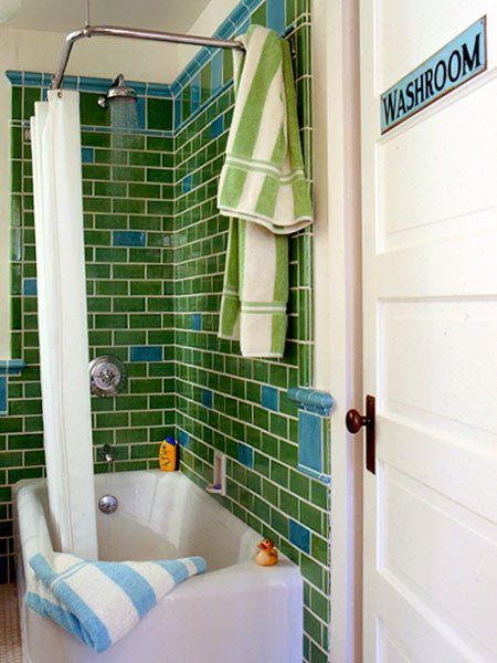 love this: Green Tile, Boys Bathroom, Kids Bathroom, Blue Tile, Subway Tile, Bathroom Ideas, Tile Bathroom, Retro Bathroom, Blue Bathroom