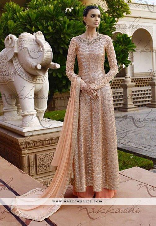 Beige And Orange Net Palazzo Salwar Suit