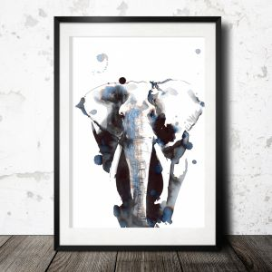 Elephant poster, hand drawn print