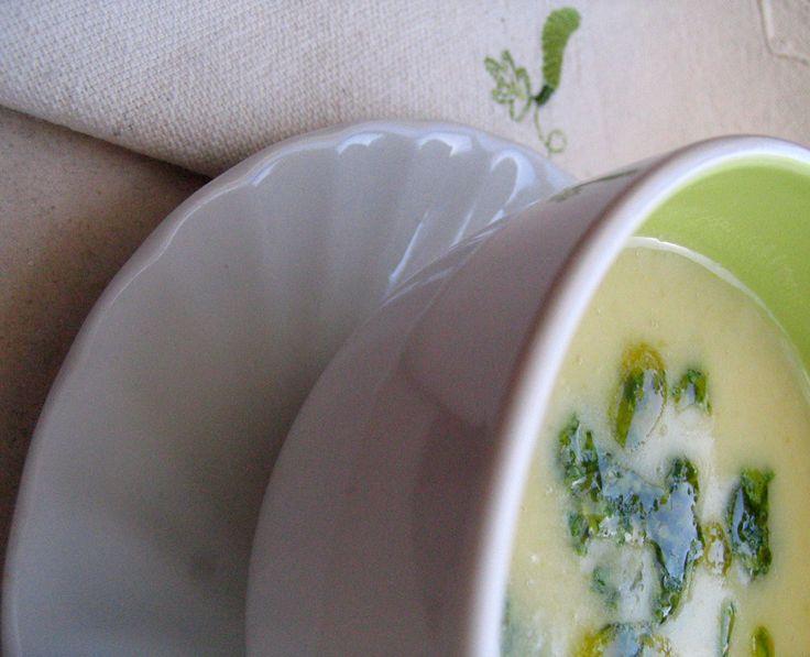 Rough Chop Rocket Pesto* over White Bean Soup: White Beans, Chop Rocket, White Bean Soup