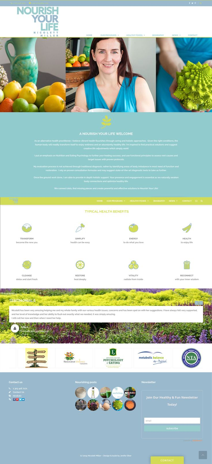 Nourish Your Life must be the most qualified nutritionist in Boulder. Designed and built site in Jumpstart.