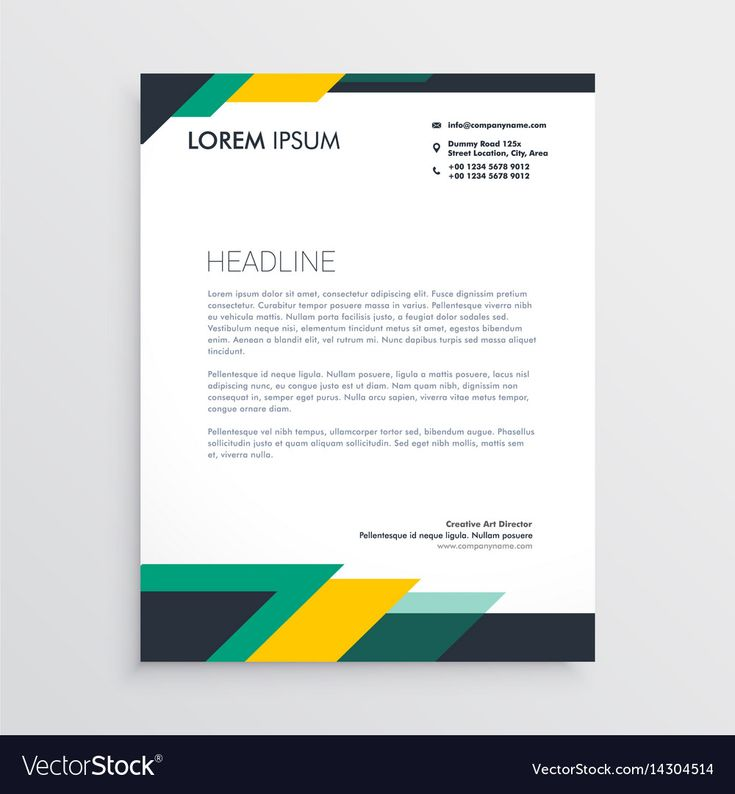 Aeolus Professional Corporate Letterhead Template 001024: Modern Letterhead Design Template With Geometric Vector