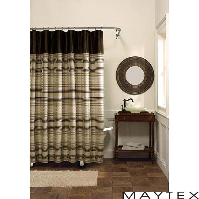 Maytex Blake Fabric Chenille Shower Curtain In Chocolate