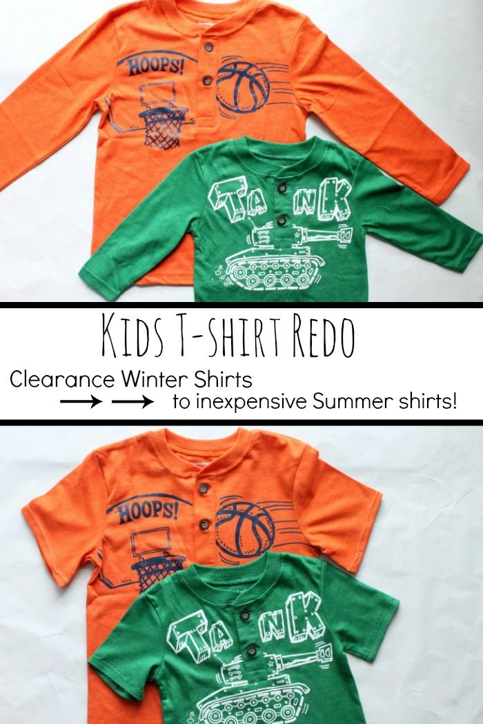 Fun Kids T-shirt redo! Use clearance Winter shirts to make some inexpensive Summer shirts with a simple sleeve redo!