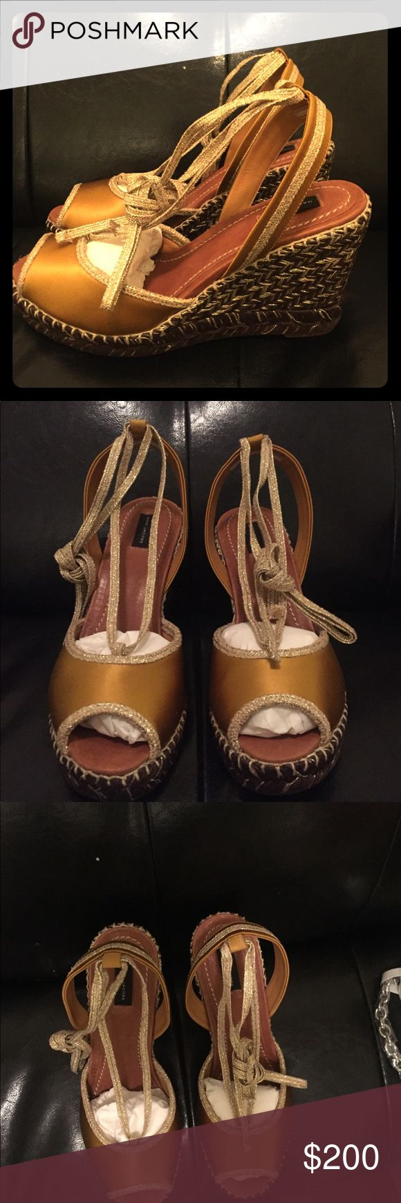 Marc Jacob mustard yellow wedge espadrille. NWT Marc Jacob mustard yellow wedge espadrille. NWT/ never worn. Size 8. Comes with original box. Retails for 295. Marc Jacobs Shoes Espadrilles
