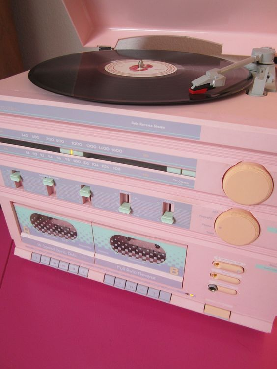 Record player with radio and dual cassette decks with equalizers vintage retro 80s eighties fun ❤️