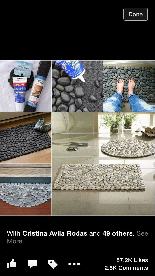 Diy mat do it yourself pinterest diy and crafts for River stone bath mat