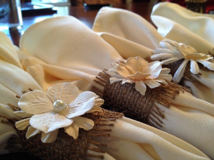 Wedding, rustic burlap napkin holders, via Etsy.