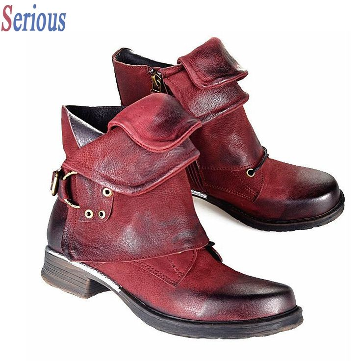 103.55$  Buy now - http://ali2ti.worldwells.pw/go.php?t=32725774231 - New Fashion Women Martin Boots Retro Flat Bottomed Female Knight Short Ankle Boots Punk Style Gladiator Boots