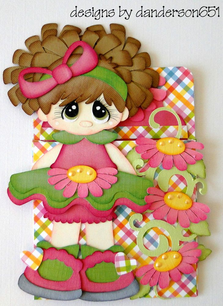 Pocket With Pull Out Tag Girl Paper Piecing  PreMade 4 Borders Scrapbooks Albums