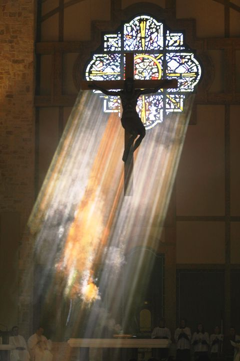Christ the Redeemer - Rose Window and Crucifix Christ the Redeemer Parish, Houston, Texas