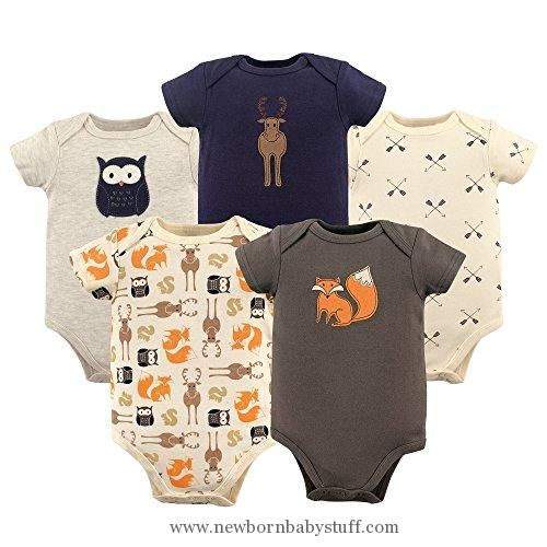 Baby Boy Clothes Hudson Baby Baby Infant Bodysuits, 5 Pack, Woodland Creatures, 3-6 Months