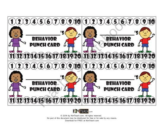 FREE Behavior Punch Card from KimTeach on TeachersNotebook.com -  (1 page)  - The behavior cards in this file are intended to be used in conjunction with a behavior incentive system.