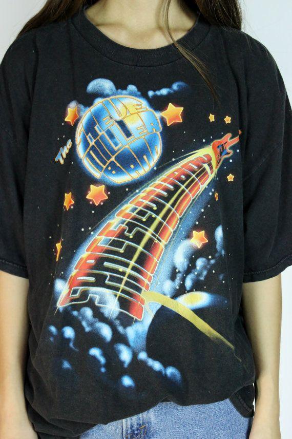 80s Band Shirt Black Tour Tee Steve Miller Band by RedLuckVintage