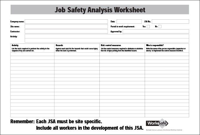 Job Safety Analysis Form In 2020 With Images Hazard Analysis Job Analysis Analysis