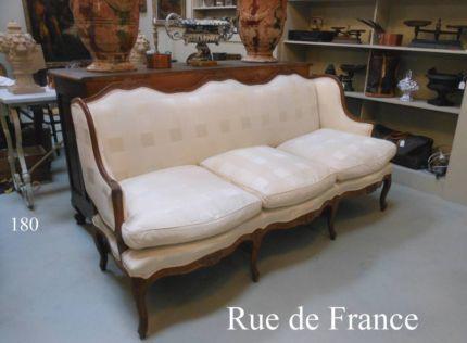 Antique Vintage French Oak 3 Seat Upholstered Sofa Lounge