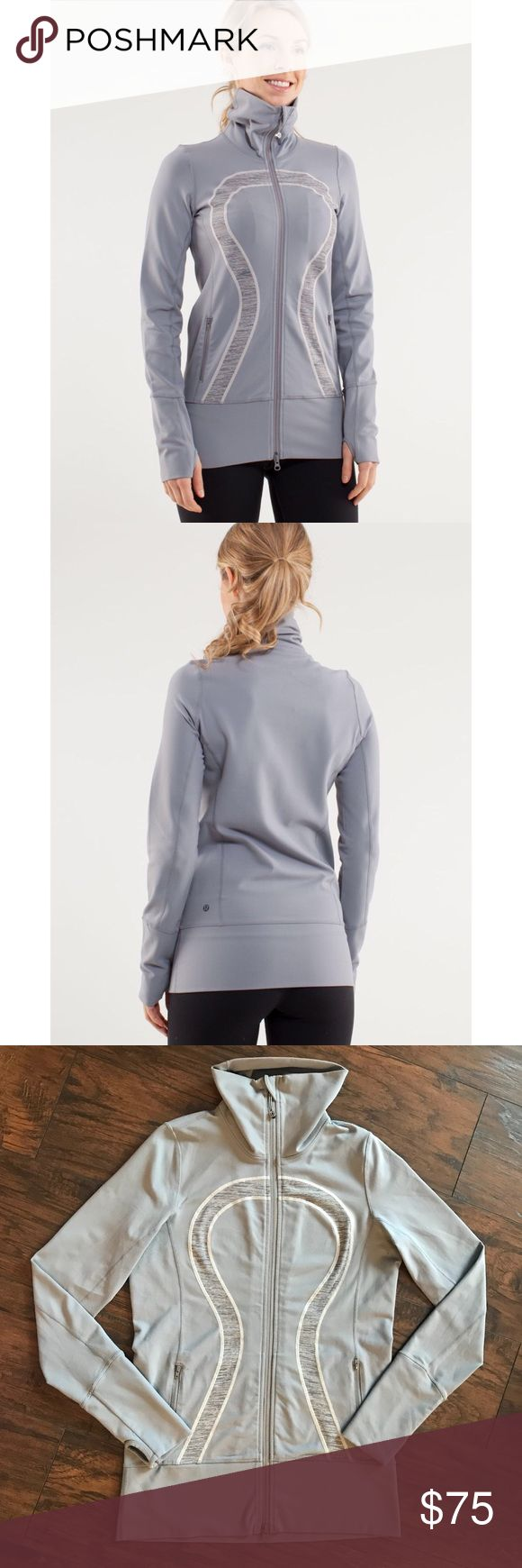Lululemon Athletica In Stride full zip up jacket 8 Lululemon In Stride zip up jacket in size 8, fossil gray color. Great preowned condition. True color is closer to stock photos! lululemon athletica Jackets & Coats