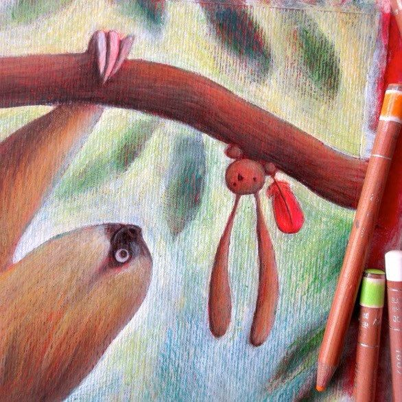"""Drawing the Sloth illustration, for """"Ciacio in Amazonia"""" picture book!"""