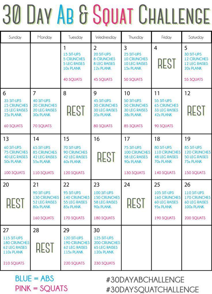30 Day Ab Amp Squat Challenge 30dayabchallenge 30daysquatchallenge Springintoshape Get Fit