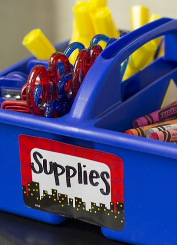 Use the Superhero Name Tags/Labels to label supply bins to help your superheroes stay organized.